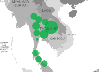 Boron deficiency map of Thailand