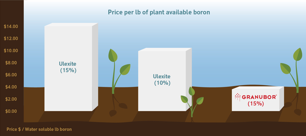 Graph of the price per pound of plant available boron as adjusted for cost per pound. Ulexite 15% and ulexite 10% cost more in comparison to Granubor 15%